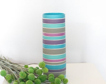 Striped Porcelain Cylinder Vase in Shades of Blue Purple Turquoise Lavender and Grey - Tall Ceramic Vase