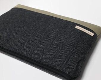 """Men's Laptop Sleeve 11.6"""", 12"""",  13.3"""", 15.6"""" MacBook Air Pro Sleeve Toshiba Kirabook Sleeve 12""""  - Gray Herringbone Wool"""