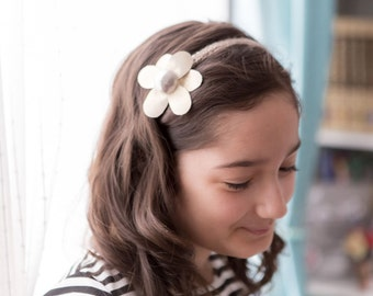 Leather & Metal Headbands -Shimmering Flower-