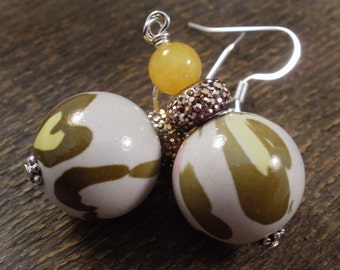 SALE Choice of colors - leopard print beads purple or yellow and silver handmade earrings