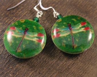 Dragonfly earrings, large genuine stone beads with a printed artistic picture handmade silver earrings