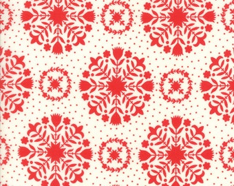"33"" piece/remnant - Handmade - Olivia in Red and Cream: sku 55141-11 cotton quilting fabric by Bonnie and Camille for Moda Fabrics"
