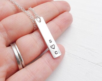 Personalized Bar Necklace Initial Heart Love Charm Vertical Custom Pendant