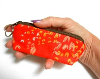 Mini Key Chain Zipper Pouch ECO Friendly Padded Lip Balm Case NEW Orange Breeze