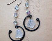 CLEARANCE SALE Ghostly - Earrings - Vintage Glass and Sterling Silver
