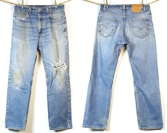 Levi's 505 Jeans / Vintage 1980s Levi's Distressed Denim / 33 x 30