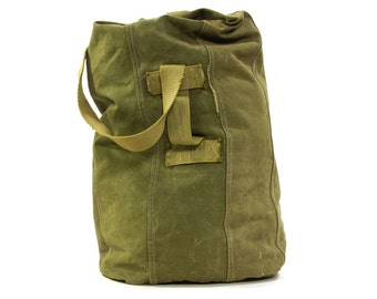 HUGE United States Army Canvas Field or Duffel Bag / Vintage 1970s