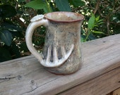 discounted for minor flaw 16 oz deer antler mug handmade stoneware pottery gift for the hunter coffee camoflauge 013