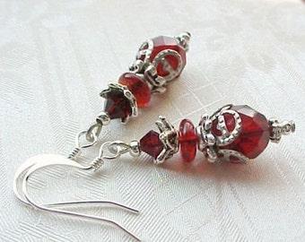 Garnet Red Earrings Red Garnet Earrings Dark Red Earrings Blood Red Earrings Czech Bead Earrings Goth Gothic Jewel Tone Earrings LAST PAIR
