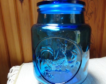 Large Blue Glass Canister  Kitchen Storage Jar by Wheaton Glass