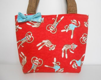 Red Sock Monkey Purse or Medium Tote Bag, Red Purse with Pockets
