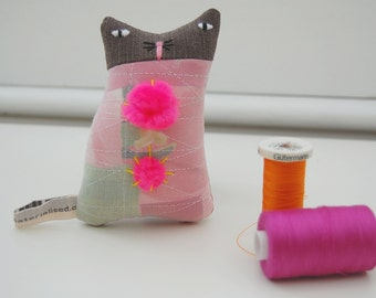 Textile art cat doll -  small soft sculpture kitten with pink pom poms