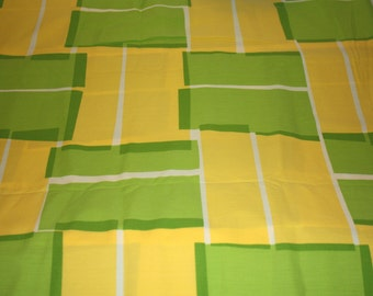 GIVEAWAY PRICE, Green yellow geometric 100 percent cotton fabric, reclaimed fabric, large pieces, green, yellow, geometric print