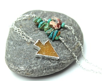 Druzy Arrow Necklace Natural Quartz Silver Leafed Turquoise Blue Sterling Drusy Agate Nature Gemstone Peach Golden Maize Jasper Zuni Bear