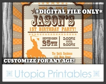 Cowboy Theme Boy 1st Birthday Invitation Cowboy First Birthday Country Western Old West Party Digital Printable Customized Orange Brown 5x7