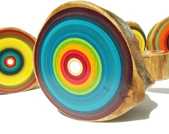 Fresh Trends Modern Colorful Original Paintings on Wood, Tree Ring Art, Kitchen Art, Kids Room Art, Living Room Decor, Danish Modern,  C4