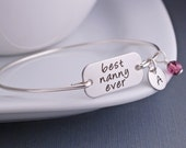 Nanny Jewelry, Silver Best Nanny Ever Bracelet, Mother's Day Gift For Nanny, Engraved Bangle Bracelet for Grandma