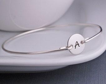 Bangle Bracelet, Monogrammed Jewelry, Personalized Bracelet, Initial Jewelry, Custom Sterling Silver Initial Bangle