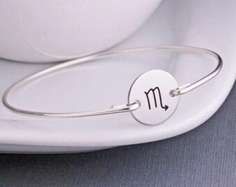 Scorpio Zodiac Symbol Bracelet, Scorpio Astrology Jewelry, Custom Zodiac Bracelet with Initial Charm, Scorpio Birthday Present