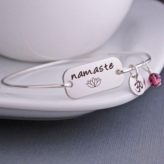 Namaste Jewelry, Namaste Bracelet, Yoga Lotus Jewelry, Namaste Bangle Bracelet, Yoga Jewelry Gift, Yoga Teacher Gift, Friend Gift