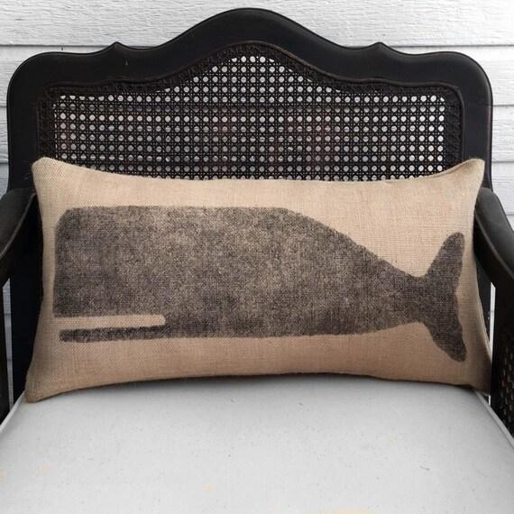 Cachalot Whale  - Burlap Pillow - Nautical Decor Whale Pillow