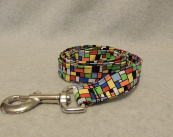 """Large Dog Leash 1"""" Wide x 4 Foot Geo Colors"""