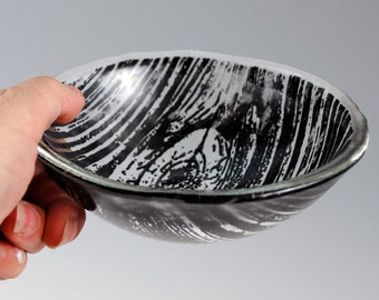 Woodgrain Small Fused Glass Bowl