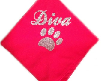 Glitter diva with paw tie on doggie bandana
