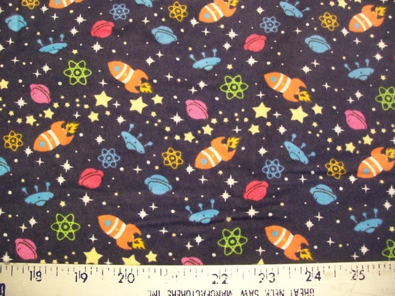 Rockets in space snuggle flannel fabric bty by dawnstreasures for Space flannel fabric