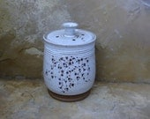 RESERVED - Compost Crock - Handmade Stoneware Pottery Ceramic - White and Rich Brown - Ivy - 1-1/2 quart