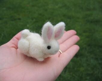 Needle Felted White Bunny Rabbit Wool Figure