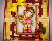 Tilda with Mended Heart Handmade OOAK Valentine Greeting Art Card