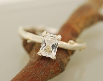 Emerald Shape White Sapphire Twig Ring