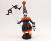 Spun Cotton Vintage Style Batty Halloween Girl Figure