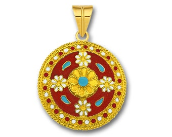 18K Solid Gold and Hot Enamel Ancient Floral Pendant - Large