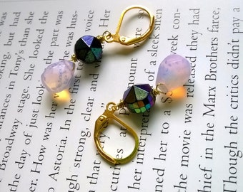 gold crystal earrings with vintage beads - purple studs and rose crystals - dangle leverback earrings with faceted beads - twilight earrings