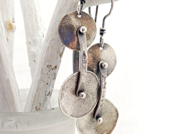 Sterling Silver Double Disc Articulated Dangle Earrings