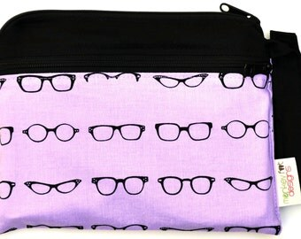 Small Double Pocket Wet Bag / Snap Strap / Modern Glasses Specs Fabric  / Diapers / Gym / Swim / SEALED SEAMS