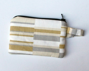 Tan and Gold Twil stripe Fabric credit card zipper pouch. coin purse. Gray polka dots, jewlery case padded, zipper. key fob