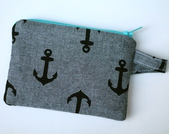 Nautical zipper pouch, Coin purse, Pocket wallet, Gift for Mothers Day Mom, Anchor credit card wallet, change purse, Thin pocket wallet