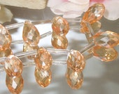 2 Champagne Luster Color Glass Teardrop Briolette Focal, 10x18mm-Bastet's Beads-