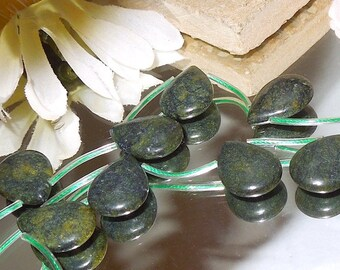 4 Deep Green Jasper Teardrop Briolette 12x16mm- Bastet's Beads
