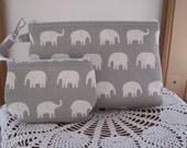 Elephants on Gray Smart phone Case Gadget Pouch Clutch Wristlet Zipper Gadget Pouch Bag  Made in USA Set
