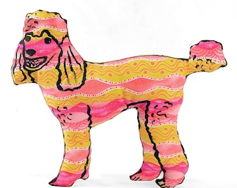 decorative pillow, dog pillow, animal pillow, poodle shaped small pillow, shelf sized poodle shaped pillow yellow pink stripes