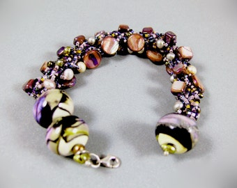 OOAK Dangle Charm Beadwoven Beaded Bracelet - Pearls, Miyuki Delica Glass beads, Lampwork beads and Sterling Silver