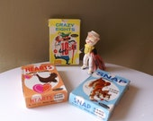 3 Vintage Whitman COMPLETE Card Games for Children, Snap, Crazy Eights, Hearts