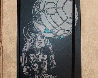 Paranoid Android Hitchhikers Guide Notebook Journal - 240 pages - sewn bound - 8.5 x 6 - split blank/lined pages
