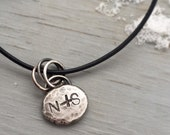 Custom Initial Pendant Sterling Silver Necklace Unisex Gift Recycled Nugget on Leather Silver Clasp Lovers Gift