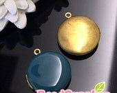 CH-EX-08146DT -   Nickel-free, Color epoxy,  Round locket (S), dusty turquoise, 2 pcs