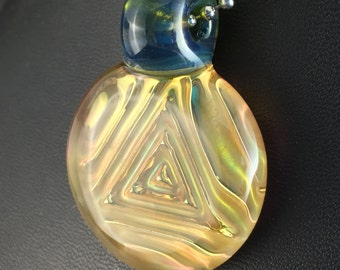 Blue Green Glass Pendant Bead Fume Gold 3D Impression Pyramid Triangle Silver --Dan Rushin